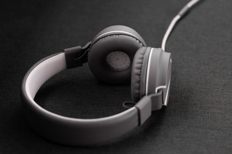 High angle view of headphones on table