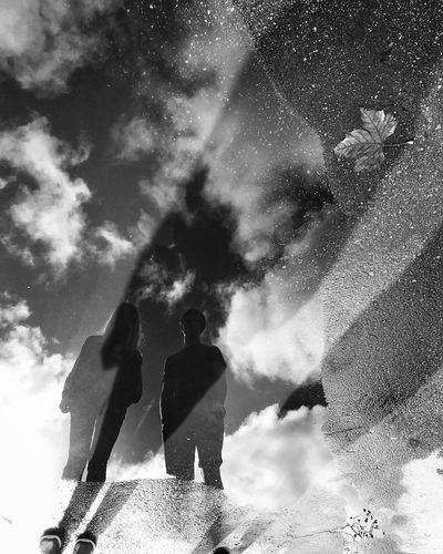 Puddel Reflection Black And White Lifestyles Cloud - Sky Standing Day Nature Shades Of Winter