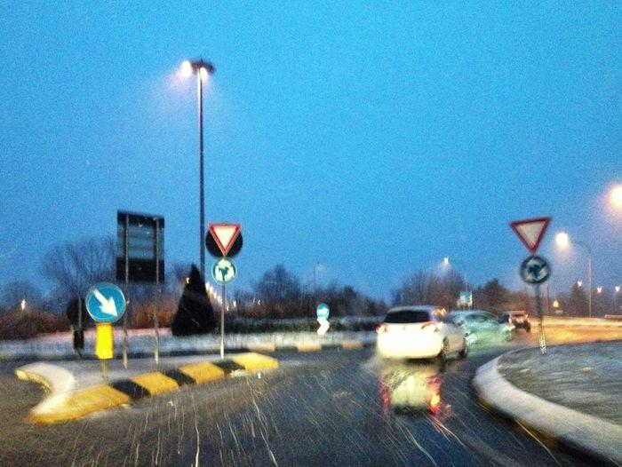 Urban Driving Traffic Night Lights