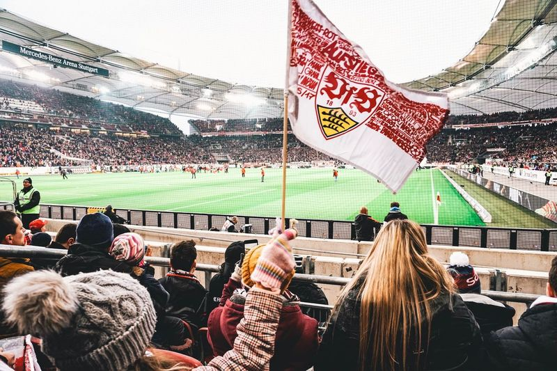 VfB Fans Stuttgart Vfb Soccer Football Stadium Spectator Sport Fan - Enthusiast Crowd Soccer Sports Event  Large Group Of People Flag Sports Team Cheering People Audience Team Sport