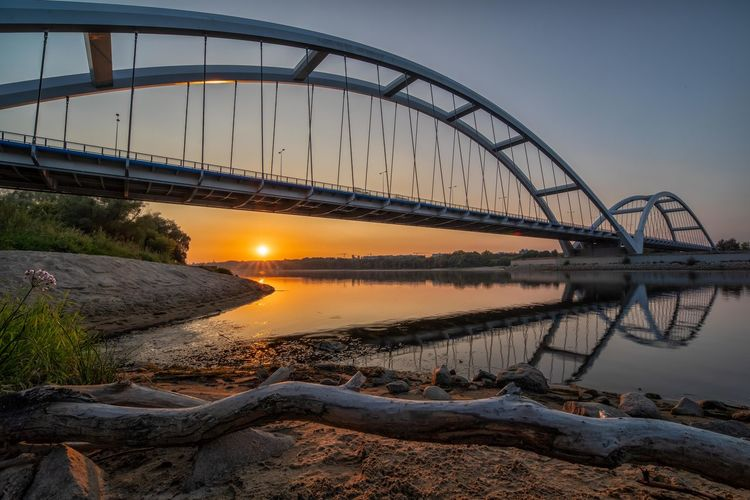 Toruń Vistula Vistula River Wisła River Arch Bridge Architecture Beauty In Nature Bridge Bridge - Man Made Structure Built Structure Clear Sky Connection Metal Nature No People Reflection River Scenics - Nature Sky Sunset Thorn Tranquility Transportation Water Wisła
