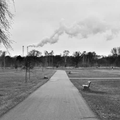 Chimney Chimneys Industry Smoke Animal Themes Beauty In Nature Bird Chimney Bricks Chimney Stacks Day Factory Factory Building Grass Nature No People Outdoors Road Sky The Way Forward Tree