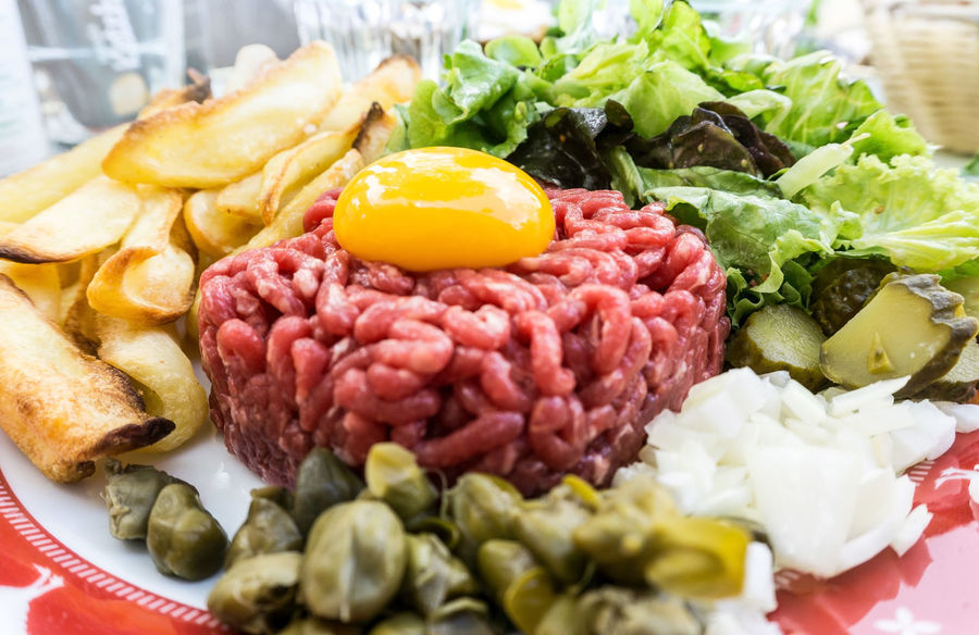Abundance Beef Close-up Focus On Foreground Food French Food Freshness Gourmet Indulgence Meal No People Organic Raw Raw Beef Raw Food Ready-to-eat Selective Focus Served Serving Size Steak Tartare Still Life Tasty Temptation Yolk