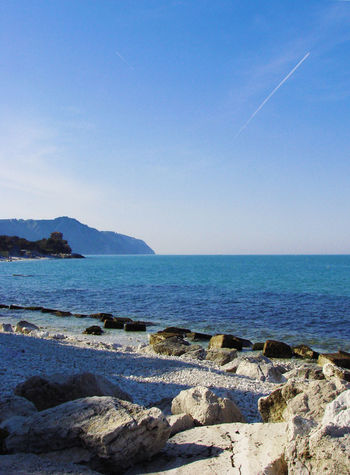 Ancona Beach Blue Coastline Conero Italy Portonovo Rock Sea Seascape Shore Vacations Voyage