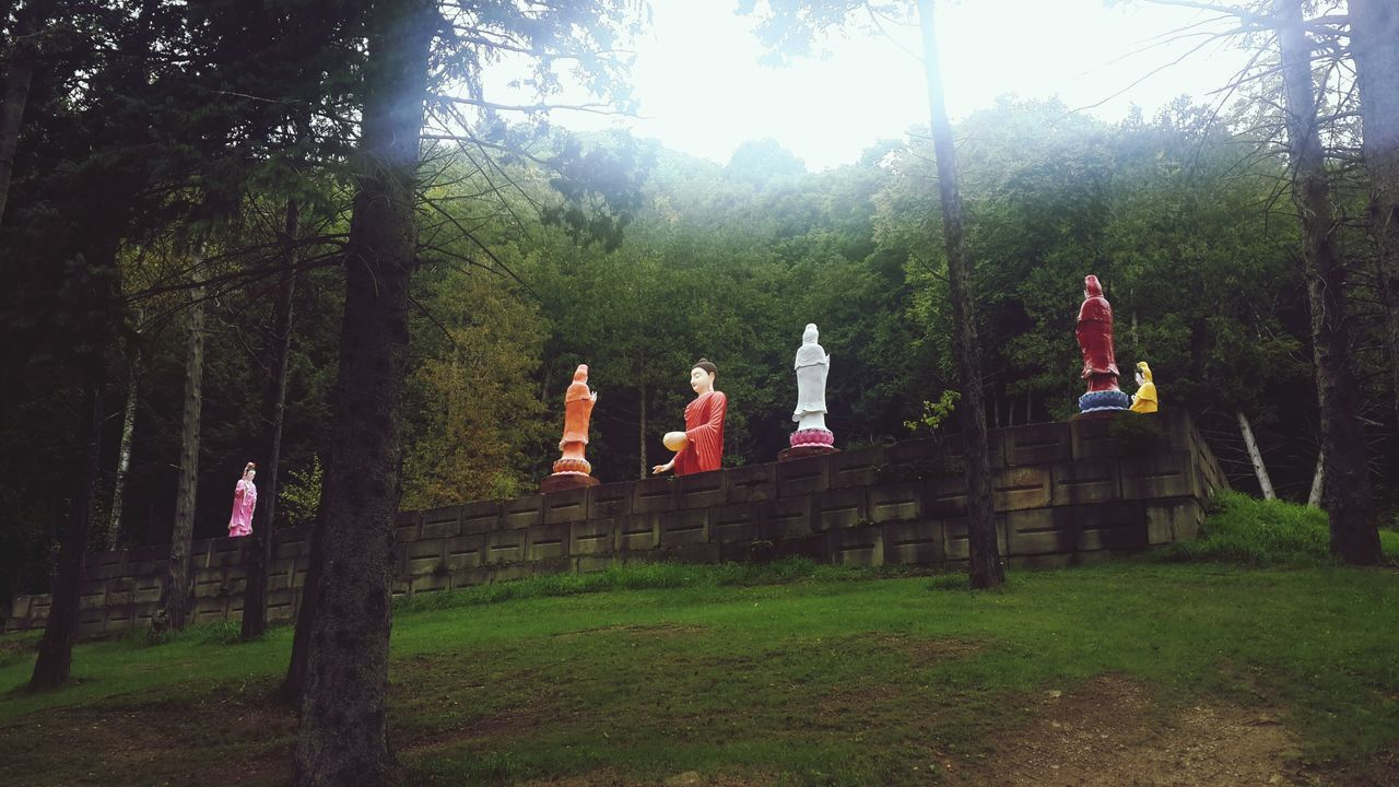 Low Angle View Of Buddha Statue On Wall In Park