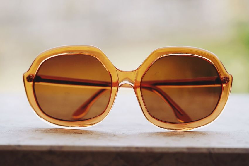 Everyday is sunshine Vintage Funky Summertime Summer EyeEm Selects Glasses Close-up Still Life Fashion Sunglasses Focus On Foreground Personal Accessory Eyewear Single Object Table Reflection Protection Transparent Nature Glass - Material Security Indoors  Day