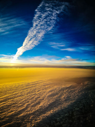 Perspectives On Nature Sky Blue Cloud - Sky Outdoors Nature Sunset No People Beauty In Nature Flying Daydreaming Horizon High Angle View