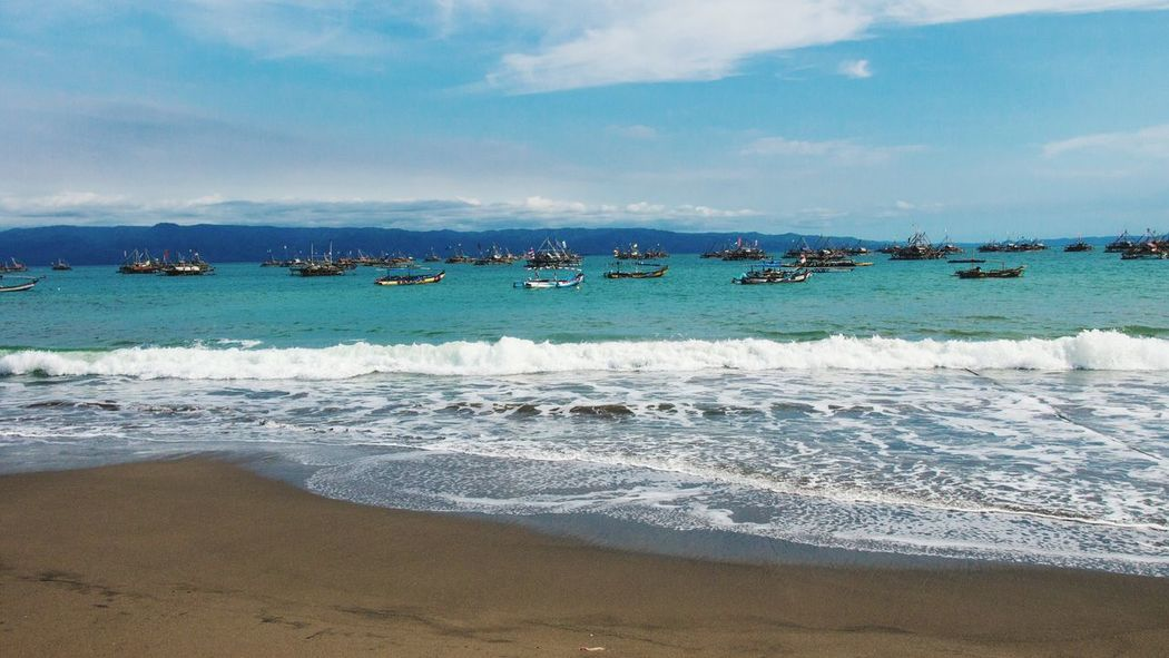 Beach Beachphotography Life Is A Beach Beautiful View Boats Hanging Out People INDONESIA, SUKABUMI
