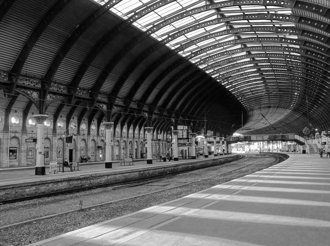 York United Kingdom Railwaystation Railway Station Architecture Architecture Photography Architectural Detail Architecture_bw Industrail Constraction Blackandwhite Black And White Blackandwhite Photography Black And White Photography Traveling Home For The Holidays The City Light Minimalist Architecture Welcome To Black The Architect - 2017 EyeEm Awards Transportation Rail Transportation Railroad Station Railroad Track Mode Of Transportation Public Transportation Track Railroad Station Platform No People Day Station