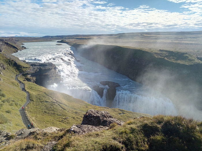Gullfoss Beautiful Cascade Cercle D'or Island Like Sky And Clouds Sun Water Sky Stone ROC Islande Landscape Green Color Spirituality Outdoors Beauty In Nature Waterfall Icelandtrip Iceland_collection The Great Outdoors - 2017 EyeEm Awards