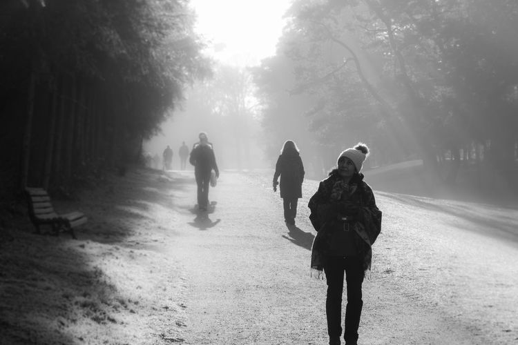Beauty In Nature Berlin Blackandwhite Cold Cold Temperature Daytime Foggy Ice Monochrome Nature Outdoors Real People Schwarzweiß Silhouette Walking Winter Zehlendorf Discover Berlin