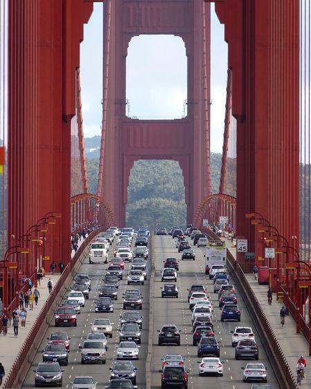 Traffic on bridge road in city