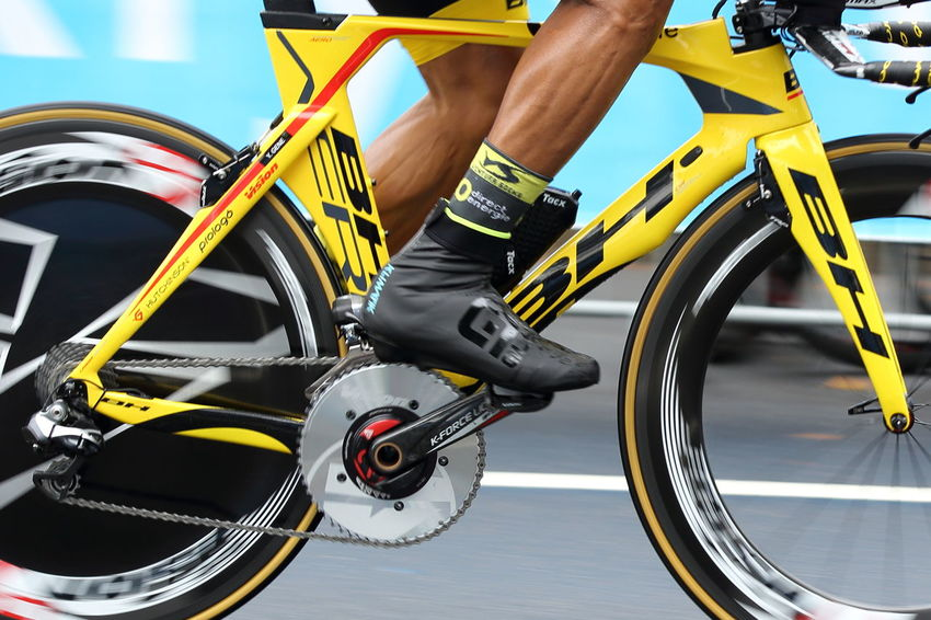 A team direct energie rider at the inaugural time trial at the Tour de France on July 1, 2017 in Dusseldorf. Bicycle Close-up Competition Direct Energie Human Body Part Human Leg Low Section Mode Of Transport One Man Only Outdoors Pedal People Sports Race Team Time Trial Time Trialling Tour De France Tour De France 2017 Transportation Wheel