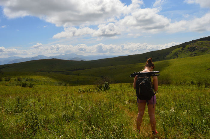 Lost South Africa Swaziland  Adventure Backpack Brunette Camera - Photographic Equipment Cloud - Sky Female Hiker Field Green Hills Hike Hiking Landscape Mountain Nature Outdoors Sky Woman Hiking Women Young Woman Breathing Space Been There. Lost In The Landscape