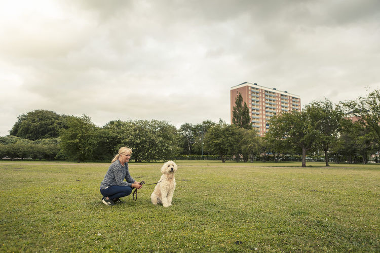 Rear view of woman with dog sitting on field against sky