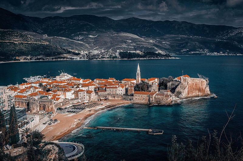 Budva oldtown Water Sea Nature Land No People Beach Beauty In Nature Scenics - Nature Day Tranquility Architecture Outdoors Sky High Angle View Built Structure Tranquil Scene Building Exterior Winter