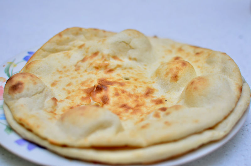 Close-up of flat bread in plate