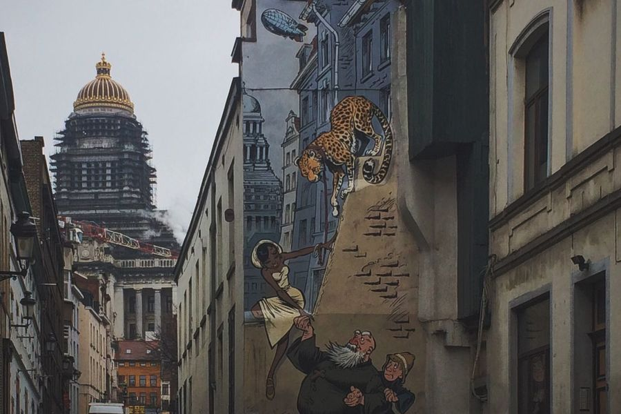 Brussels , its Streetart , it's weather, small grey roads and those surprise appearances.