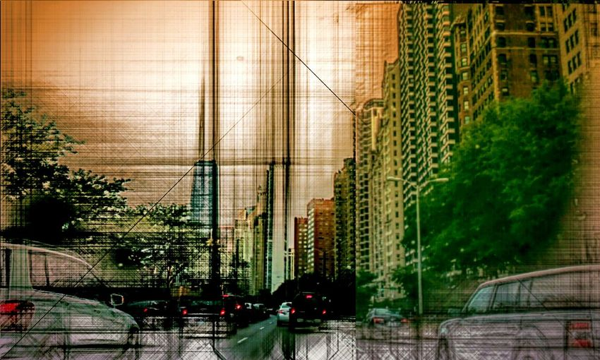 Architecture Built Structure City Tall - High Modern pencilart twilight dusk Mode Of Transport Land Vehicle Tree Street Light Transportation Road Outdoors Large Group Of Objects cars City Life Building Story Urban Skyline Office Building City Life Chicaw Illinois