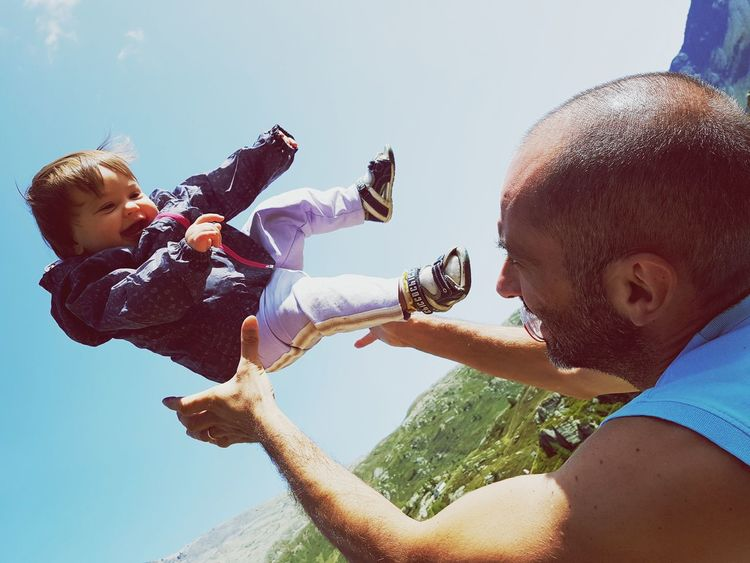 Child Togetherness Fun Childhood Sky Playing Father Leisure Activity Family Mylove ❤️ Real People PureJoy Joyful Jump! Jumping Babygirl Baby