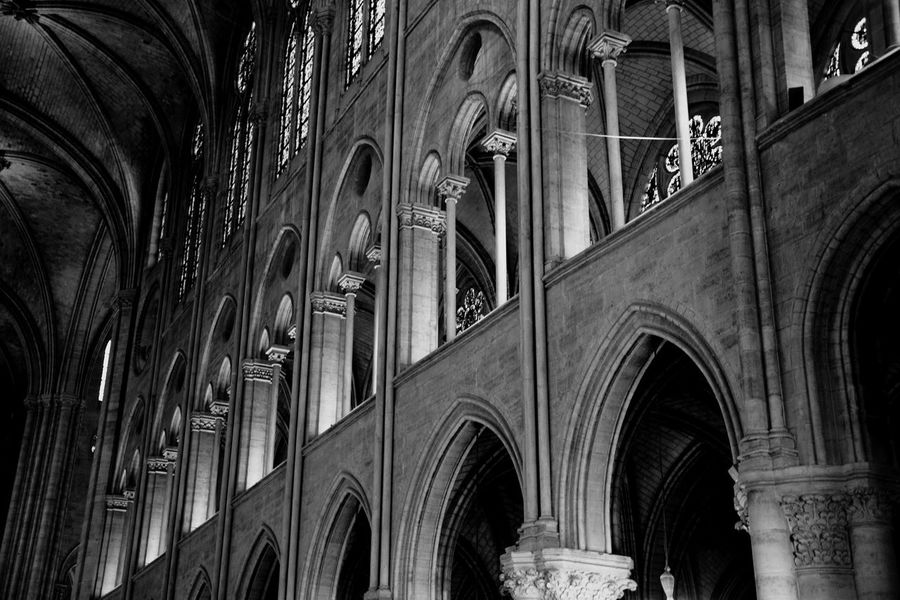 Arch Architecture Religion Built Structure Church Religion Place Of Worship Spirituality Religion Low Angle View Cathedral Window Architectural Column Interior History Arcade Architectural Feature Column Day Notre Dame De Paris Indoors  Cathedrale Church Indoor Photography Indoor Architecture The Notre Dame in Paris, France.