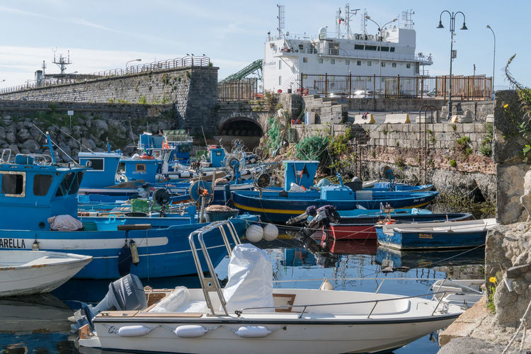 Pozzuoli, the little harbor called Valione Bay Of Naples, Italy. City Day Fisherman Boat Fishermen's Life Mode Of Transport Moored Napoli Nautical Vessel Outdoors People Pozzuoli Sea Sky Transportation Travel Destinations Water