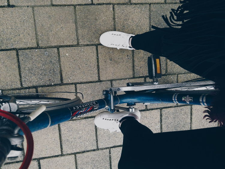 Day Outdoors High Angle View Fashion Bike Ride Shoes Close-up Young Women Sports Shoes Outside Photography Hobby Photography Capture The Moment
