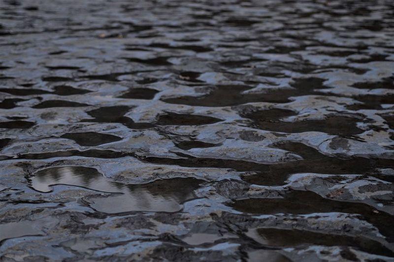 Full frame shot of wet stones on beach