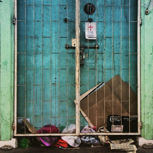 Gate Front Door Locked Bars Abandoned Once Loved My Unique Style Streetphotography Penang Malaysia Blue Blue Door Rubbish Dump