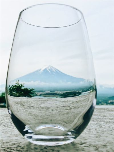 Drinking Glass Fuji Mountain Fuji Mountain In The Glass Taking Photos Morning Time Nature Eye4photography  What I See From My Point Of View Beauty In Nature Life Life Is Good