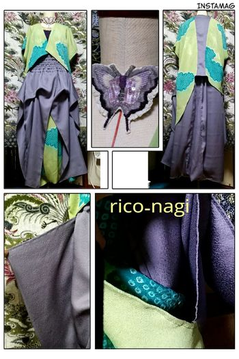 着物リメイク出来ました♪イメージは魔導師とか賢者とか(笑)https://m.facebook.com/story.php?story_fbid=1954371248167209&substory_index=0&id=1646489745622029 Rico-nagi Handmade Kimono Fashion Japan リメイク サルエル Wagara