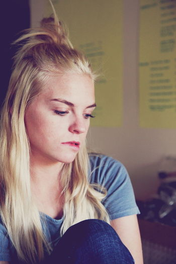 Sad Young Woman Looking Away