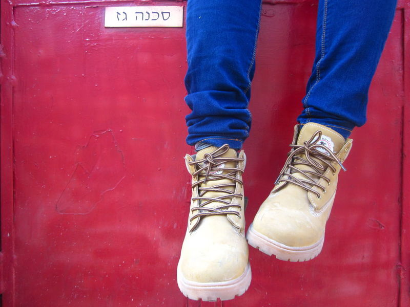 Blue Boots Colors Fashionable Jeans Low Section Person Red Red Blue Yellow