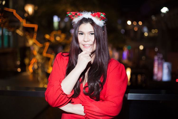 Portrait of woman during christmas