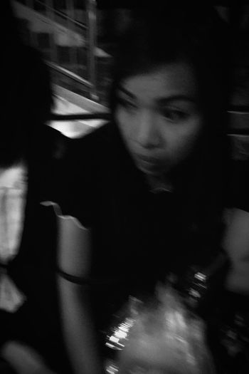 Blurred Motion Motion One Person Real People Lifestyles Indoors  Night Young Adult Close-up People Woman Asianwoman Thaiwoman Blackandwhite Traveling Journey Onthebus