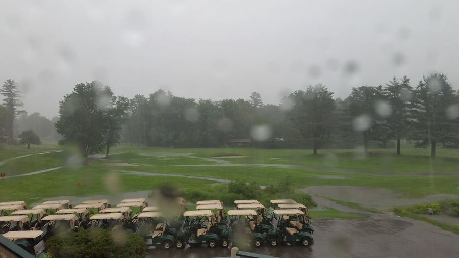 Flood Flooding The Field Torrential Rain Water Extreme Weather Accidents And Disasters Nature Outdoors Day Sky No People Under Siege Tornado Warning Nature Landscapes Safety Green Field With Trees New England  New Hampshire Summer Golf Carts Parked Golf Carts Green Golf Course Game Over