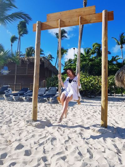 Full Length Young Women Sand Flexibility Blue Childhood Outdoor Play Equipment Fun Beach Tree