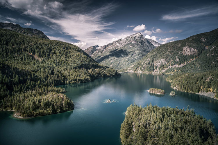 Scenic view of river and mountains at north cascades national park