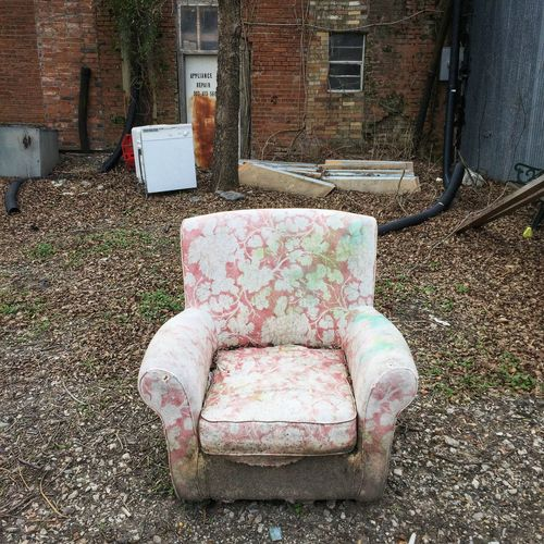 Back alley comfort Winter Chair Chairs Chair Architecture House Built Structure Abandoned Building Exterior Run-down Day Outdoors No People
