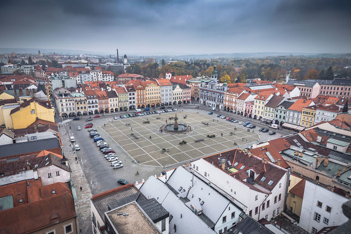 České Budějovice town square Architecture Building Exterior City Cloudy Day High Angle View Outdoors Residential Structure Sky Town Town Square Ceske Budejovice