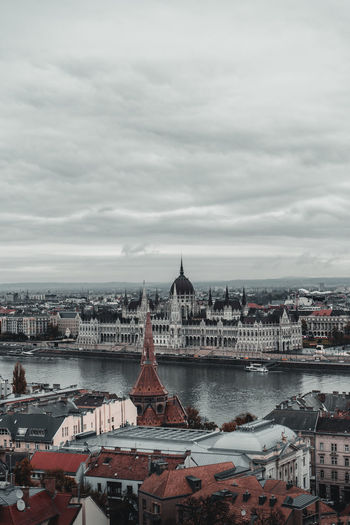 Aerial view of hungarian parliament building against cloudy sky