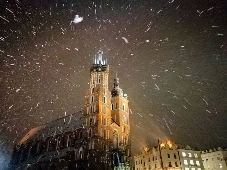 Night Architecture Building Exterior Long Exposure Built Structure No People Outdoors Low Angle View Illuminated Star - Space Clock Galaxy Constellation Astronomy Time Sky Nature Snowing Cold Temperature Winter Adventures In The City