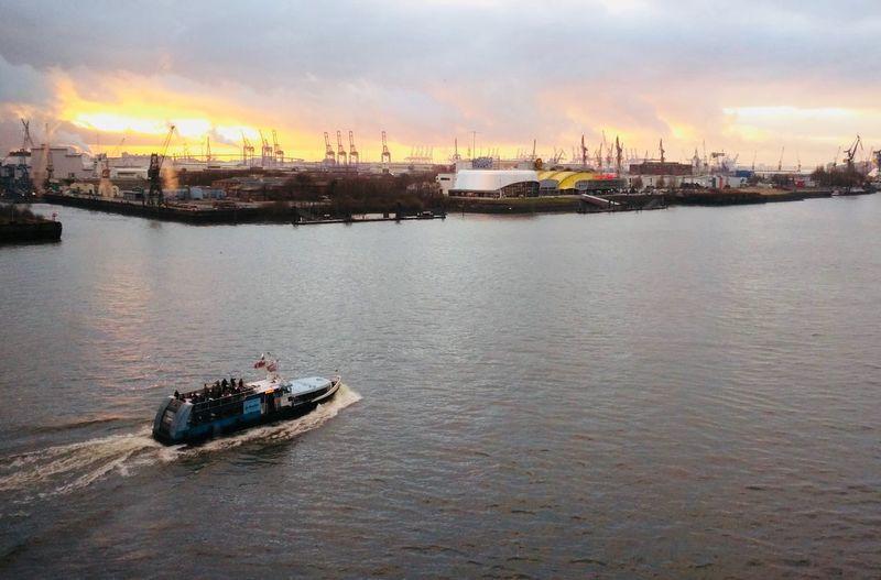 Hamburg Elbphilharmonie Elbe Nautical Vessel Transportation Mode Of Transport Boat Water Outdoors Sky Ship Cloud - Sky Sunset