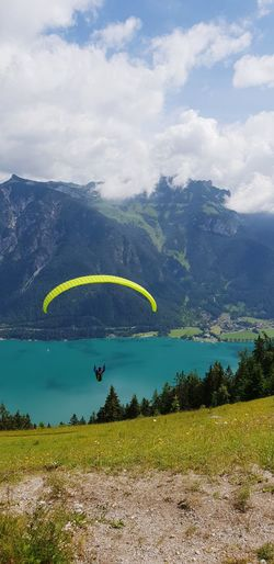 paragliding Paragliding Sport Flying In The Sky Happiness Sunny Beautiful Place The Great Outdoors - 2018 EyeEm Awards The Traveler - 2018 EyeEm Awards Swim Sailing Peaceful Hike Wanderlust Adventure Holidays Summer Tirol  Adrenaline Junkie Vacation Up In The Air Like A Bird Good Morning Tree Mountain Rural Scene Tea Crop Sea Water Sky Landscape