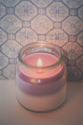 Burning Candle Flame Glass Jar Glowing Layers Lit Lit Candle Macro Pastel Romance Romantic Transparent