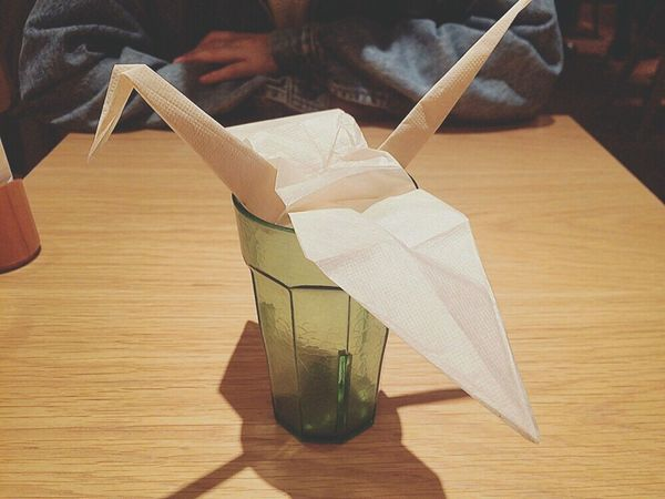 コップから鶴さんこんばんは🌝🌚 Tsuru