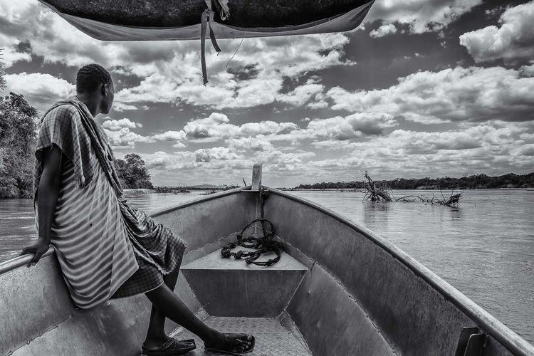Africa, Tanzania, Rufiji River Blackandwhite Photography Masaai Warrior