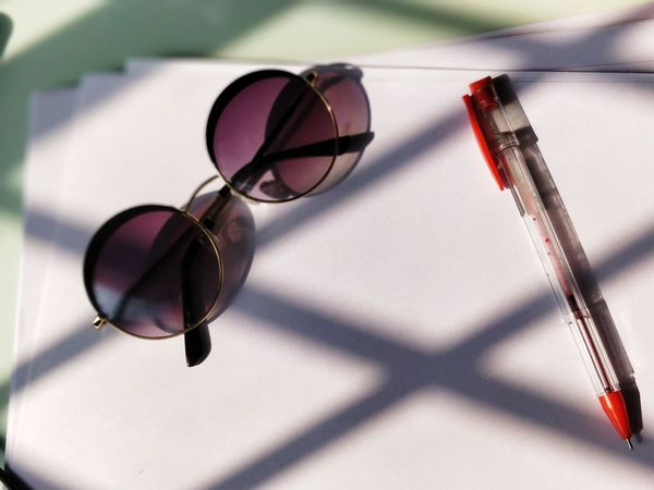 Sunglasses Shadows Working Work Work Work Sunny Day Sunnies Pen Red Pen Round Sunglasses Light And Shadows