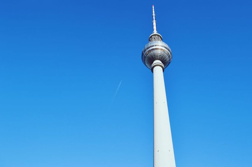 Tower Low Angle View Blue Clear Sky Tall - High Sphere Communication Travel Travel Destinations Television Tower Alexanderplatz Berlin City Built Structure No People Tourism Outdoors Building Exterior Global Communications Technology Day Discover Berlin The Week On EyeEm