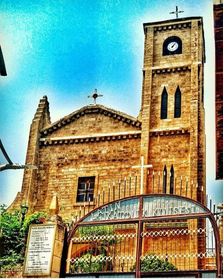 Latin italian catholic church _ Turkey in Mersin Amaturephotography Myobjective Architecture Built Structure Building Exterior Religion Outdoors No People Day Low Angle View History Sky Spirituality Travel Destinations Place Of Worship